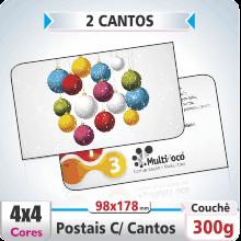 Postal Quadruplo (178x98mm) c/ 2 Cantos Arredondados – Fosco+Verniz – 4×4 cores (COM VERSO)