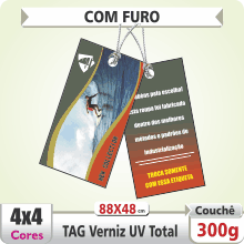 TAG (88x48mm) – Verniz UV Total Brilho – 4×4 cores (COM VERSO) – Furo 6 mm