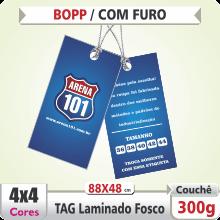 TAG (88x48mm) – Laminado Fosco+Verniz – 4×4 cores (COM VERSO) – Furo 6 mm