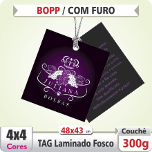 TAG (48x43mm) – Laminado Fosco+Verniz – 4×4 cores (COM VERSO) – FURO 6 mm