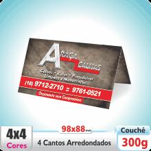 Carto Duplo (98x88mm) 4 Cantos Arredondados – Verniz UV Total Brilho – 4×4 cores (COM VERSO)