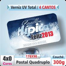 Postal Qudruplo (178x98mm) c/ 4 Cantos Arredondados – Verniz UV Total Brilho – 4×0 cores (SEM VERSO)