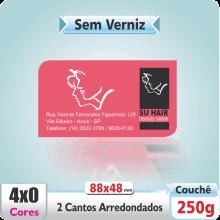 Carto de Visita SEM VERNIZ – c/ 2 Cantos Arredondados – 4×0 cores (SEM VERSO)
