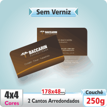 Carto de Visita SEM VERNIZ – c/ 2 Cantos Arredondados – 4×4 cores (COM VERSO)