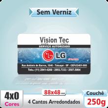 Carto de Visita SEM VERNIZ – c/ 4 Cantos Arredondados – 4×0 cores (SEM VERSO)