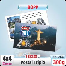 Postal Triplo (148x88mm) – Fosco + Verniz – 4×4 cores (COM VERSO)