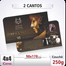 Postal Qudruplo (98x178mm) Sem Verniz – 2 Cantos Arredondados – 4×4 cores (COM VERSO)