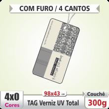 TAG com 4 Cantos Arredondados(98x43mm) – Verniz UV Total Brilho – 4×0 cores (SEM VERSO) – Furo 6 mm