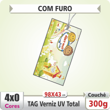 TAG (98x43mm) – Verniz UV Total Brilho – 4×0 cores (SEM VERSO) – Furo 6 mm