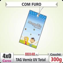 TAG (88x48mm) – Verniz UV Total Brilho – 4×0 cores (SEM VERSO) – Furo 6 mm