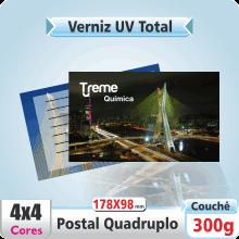 Postal Quadruplo (178x98mm) – Verniz UV Total Brilho – 4×4 cores (COM VERSO)