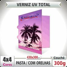 Pasta c/ Orelhas (430x300mm) – Verniz UV Total Brilho – 4×4 cores (COM VERSO)