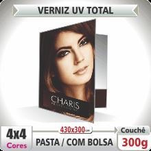 Pasta c/ Bolsa (430x300mm) – Verniz UV Total Brilho – 4×4 cores (COM VERSO)