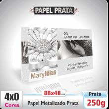 Carto de Visita em Papel Textura Metalizado Prata